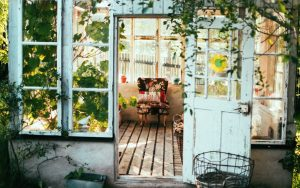 open door, rustic, vintage house setting, distressed look