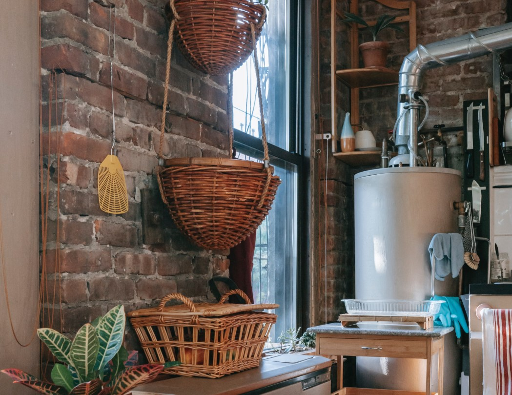 rustic boiler room with flue